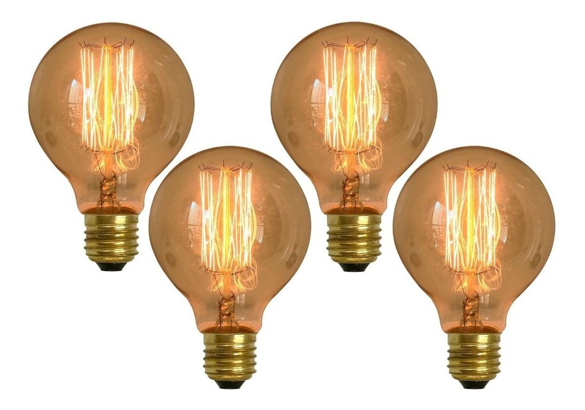 Kit 4 Lâmpadas Retrô Decorativa Vintage Thomas Edison G80