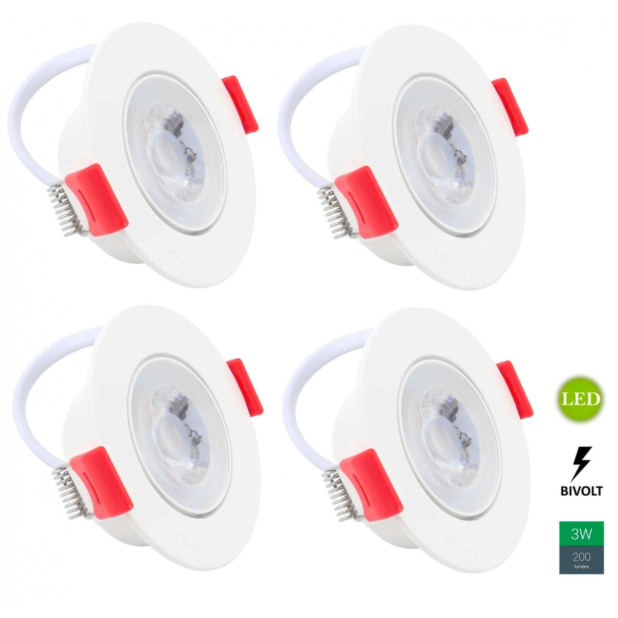 Kit 4 Spots Embutir 3w Redondo Branco Quente