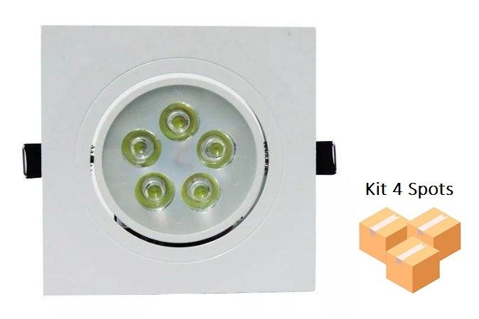 Kit 4 Spots Embutir 5w Quadrado 3000k