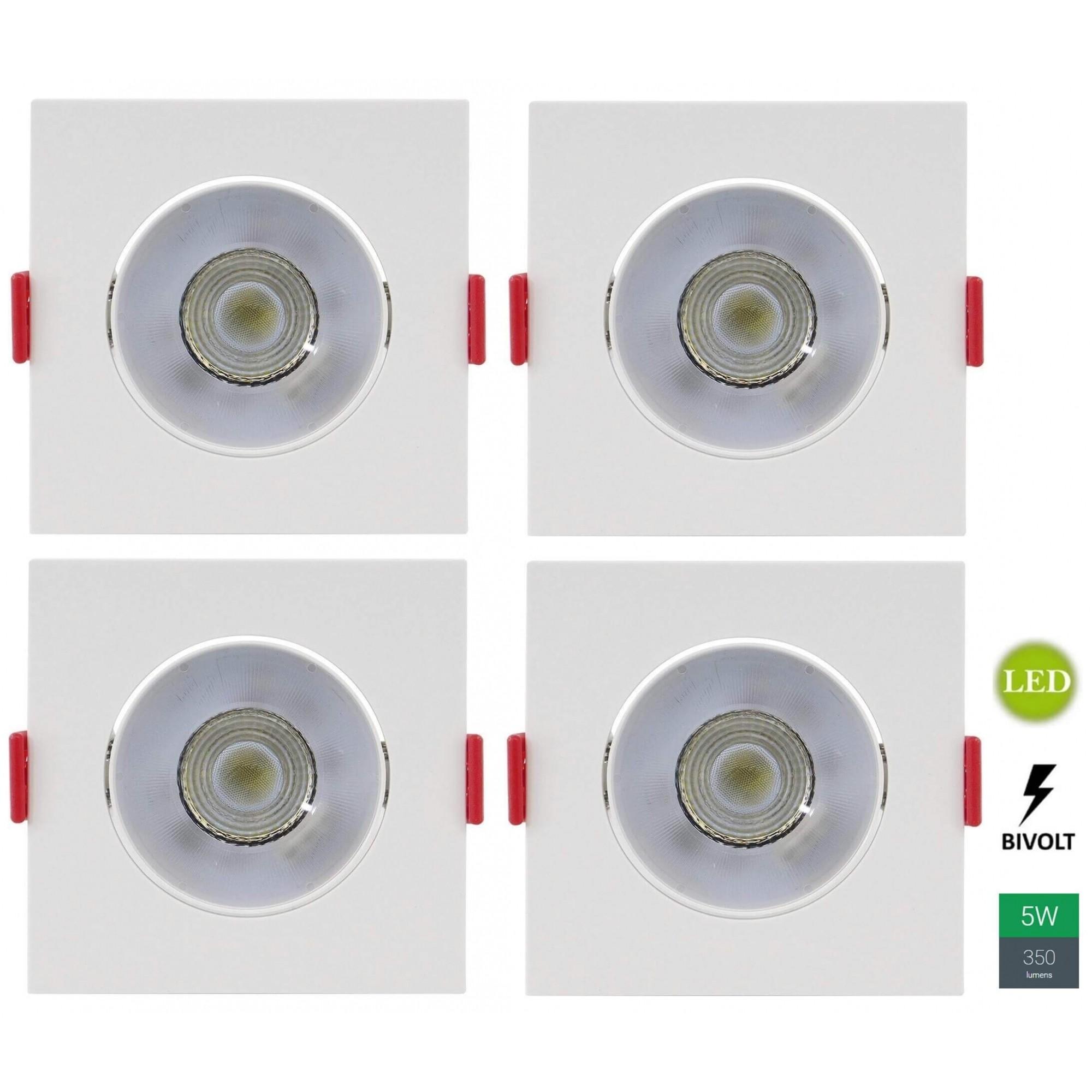 Kit 4 Spots Embutir 5w Quadrado Branco Quente