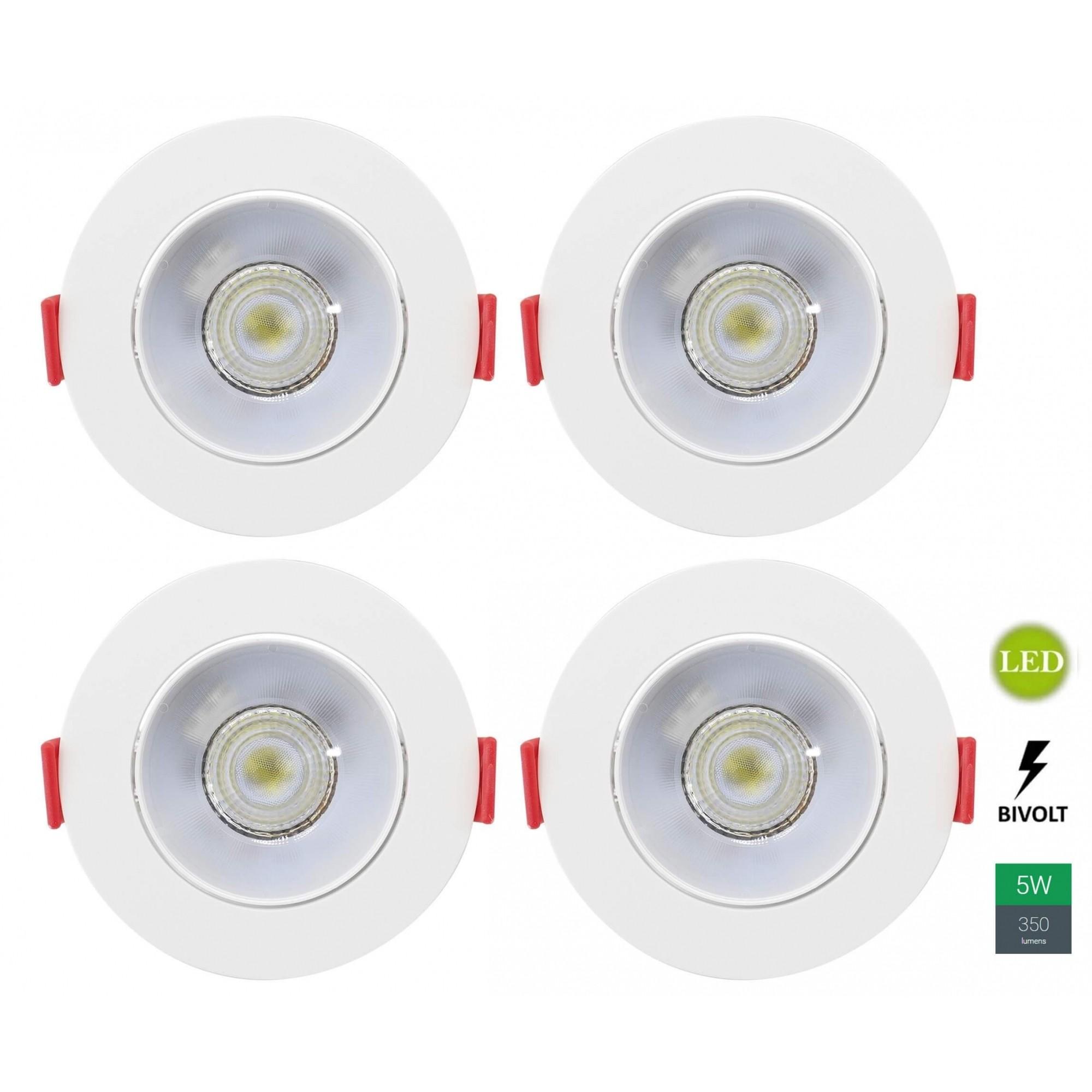 Kit 4 Spots Embutir 5w Redondo Branco Neutro