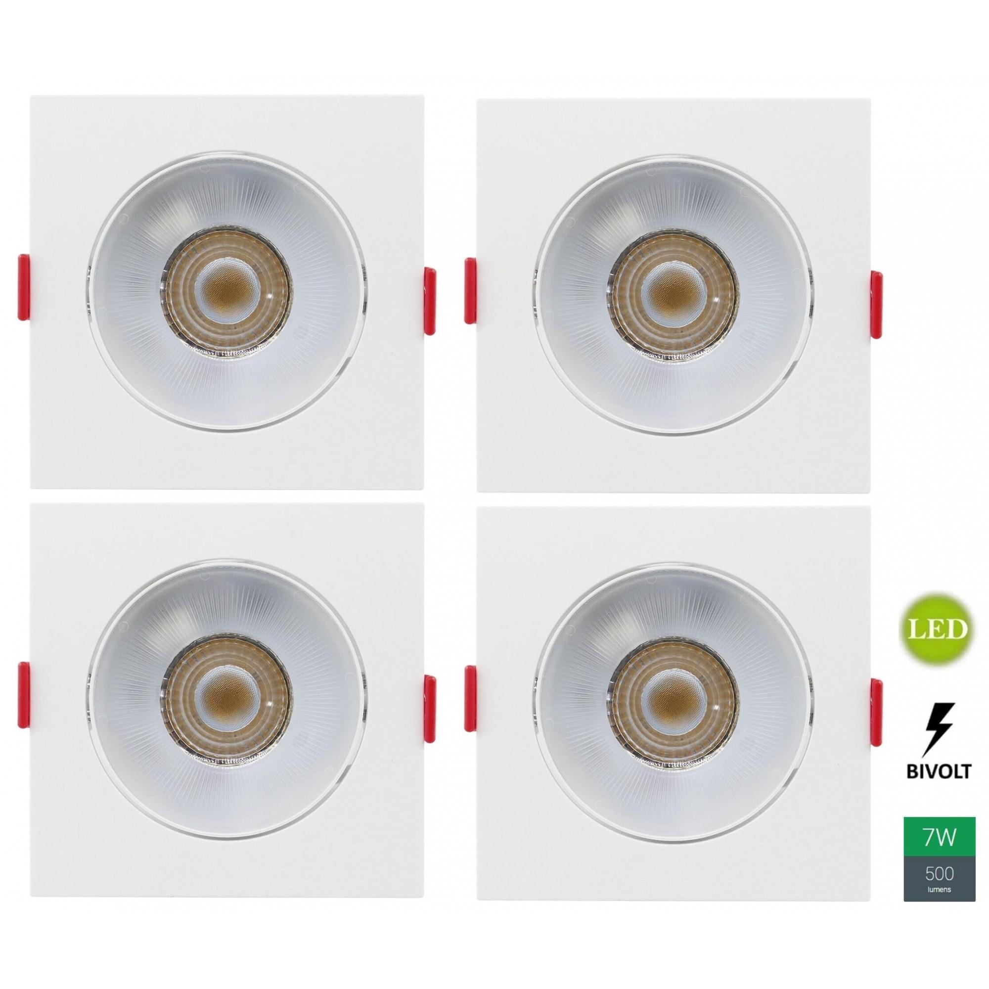 Kit 4 Spots Embutir 7w Quadrado Branco Quente