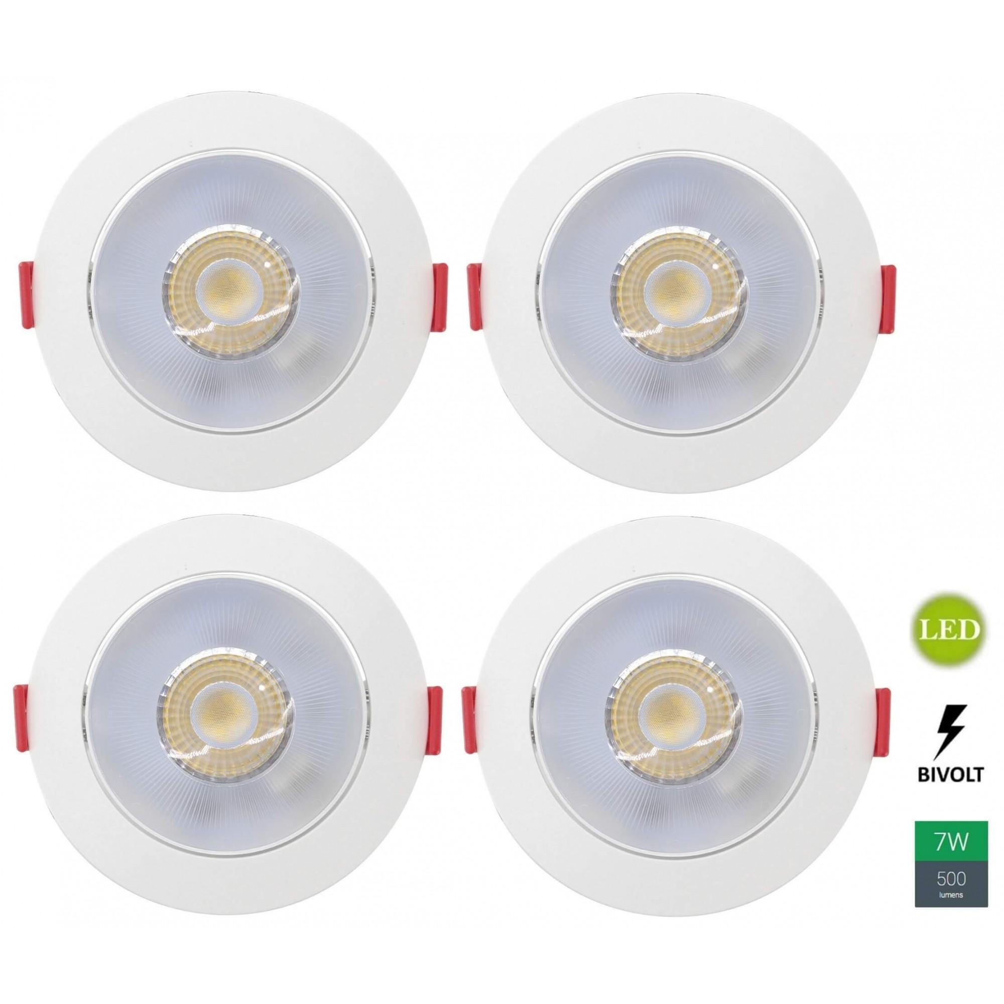 Kit 4 Spots Embutir 7w Redondo Branco Frio