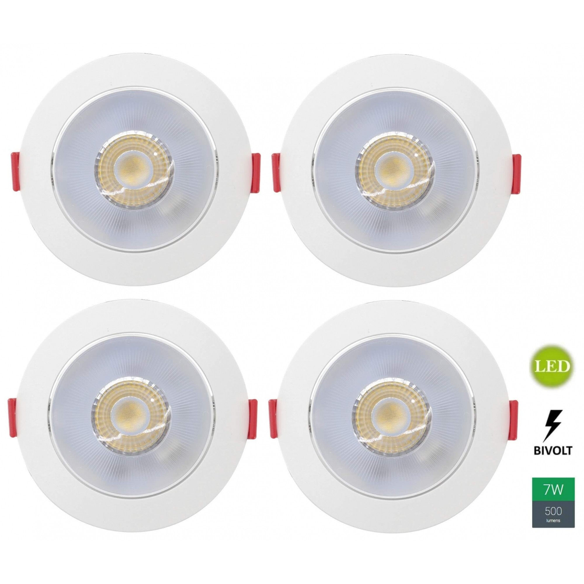 Kit 4 Spots Embutir 7w Redondo Branco Neutro