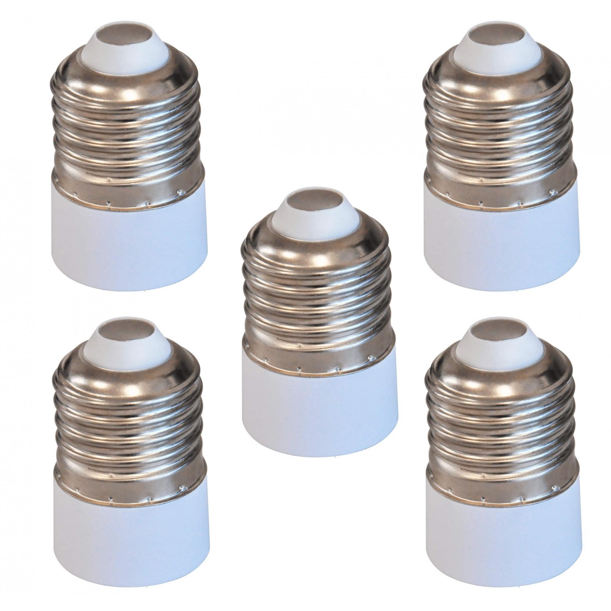 Kit 5 Adaptadores Soquete Bocal E27 Para E14