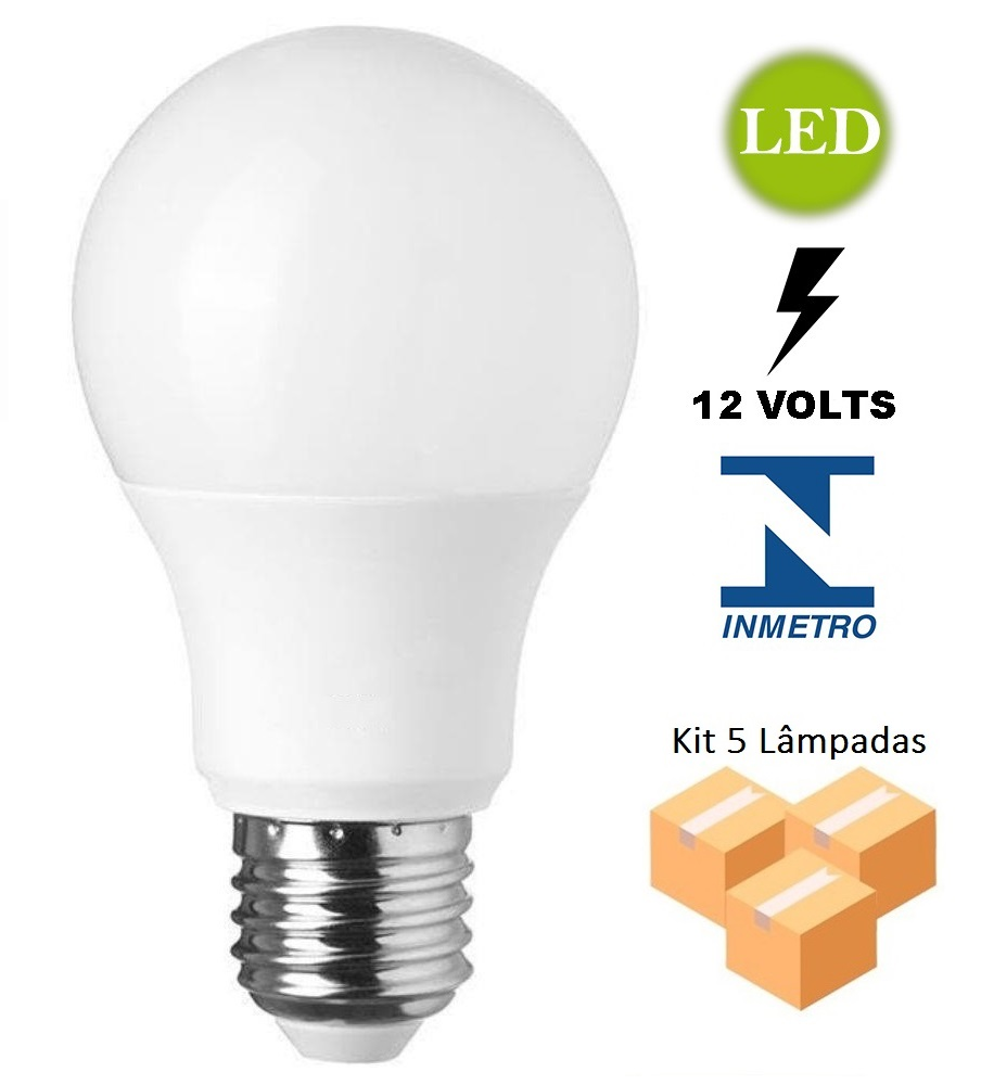 Kit 5 Lâmpadas Bulbo Led 9w 6500k 12V - LUZ SOLLAR