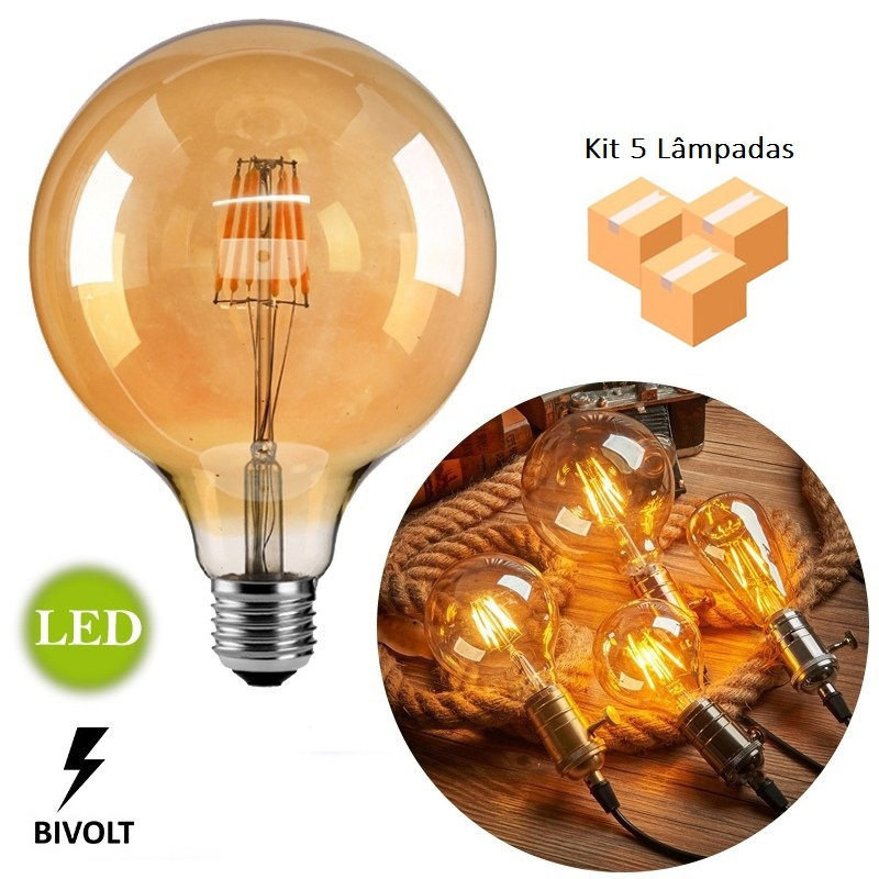Kit 5 Lâmpadas de Filamento LED G125 Squirrel Cage 4W Bivolt