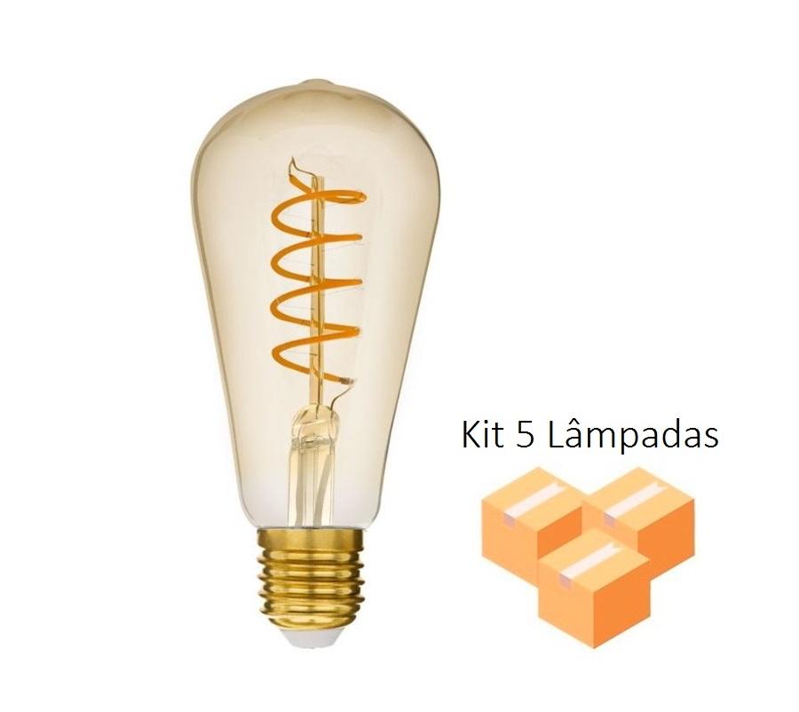Kit 5 Lâmpadas de Filamento LED ST64 Spiral 4W Bivolt