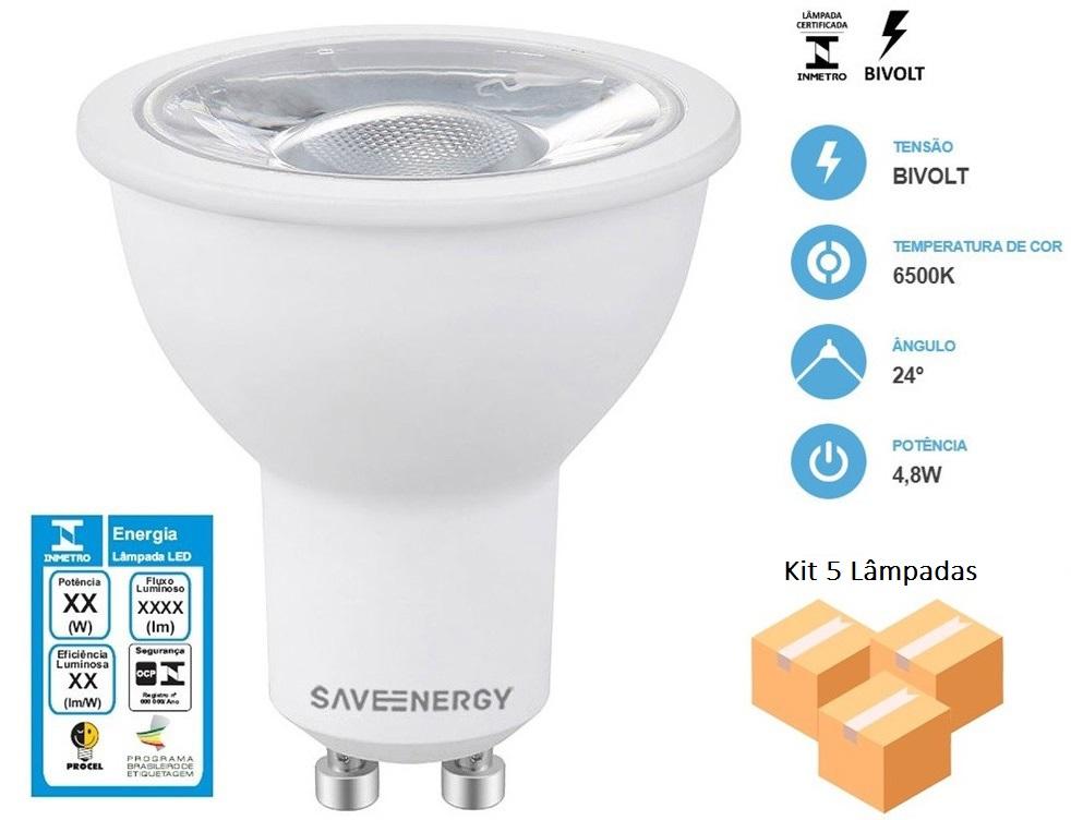 Kit 5 Lâmpadas Dicróica 4,8W 6500K - Save Energy