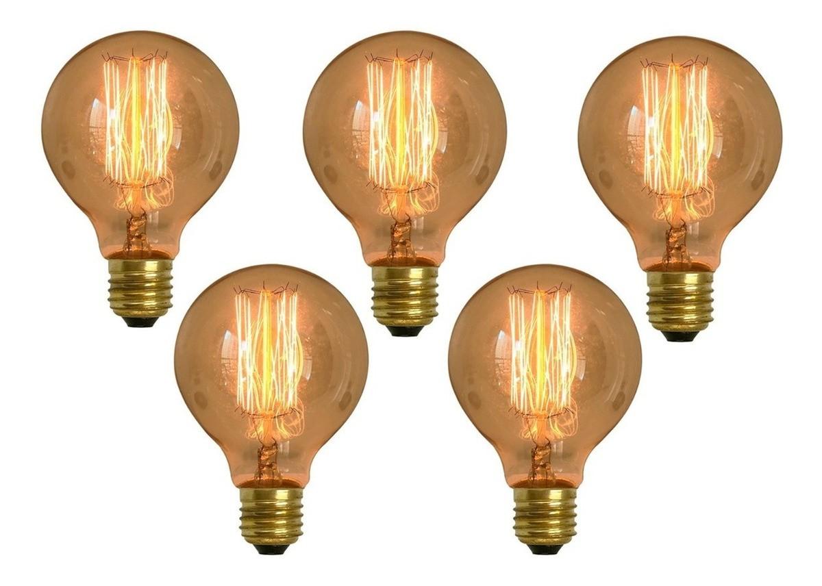 Kit 5 Lâmpadas Retrô Decorativa Vintage Thomas Edison G80