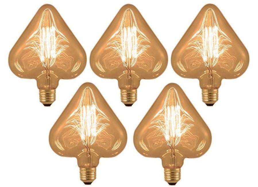 Kit 5 Lâmpadas Retrô Filamento Carbono 127V - Heart