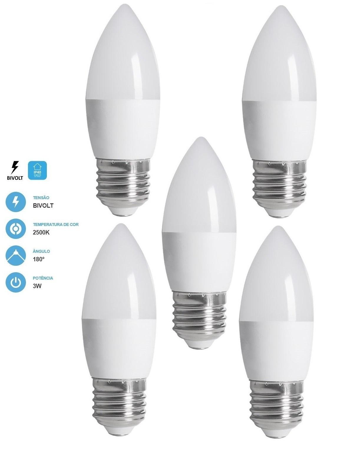 Kit 5 Lâmpadas Vela Fosca 3W 250LM 2500K E27 Bivolt Save Energy