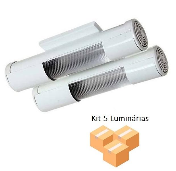 Kit 5 Luminárias Mini tubular Branco p/2 Lâmpadas Tualux