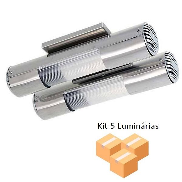 Kit 5 Luminárias Mini tubular Inox p/2 lâmp. Tualux