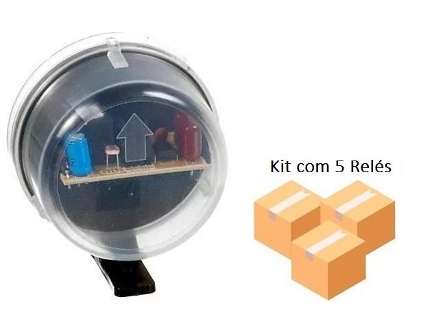 Kit 5 Relé Fotocélula Temporizado Externo 2x1 Qualitronix - Qr50m