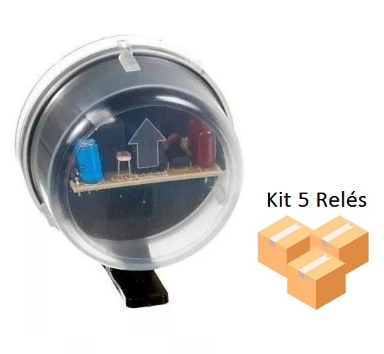 Kit 5 Relés Fotocélula Temporizado Externo 2x1 Qualitronix - Qr50m