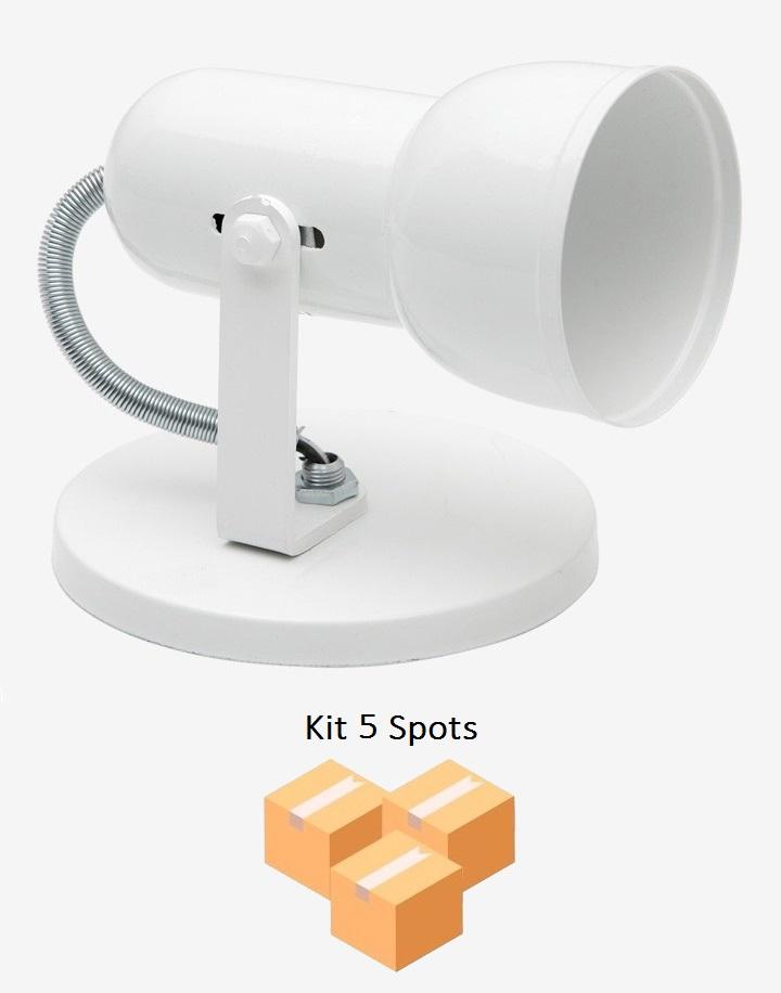 Kit 5 Spots Copinho PVC B/1 Branco Enerlux