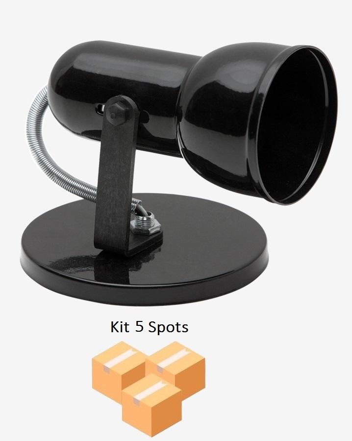 Kit 5 Spots Copinho PVC B/1 Preto Enerlux