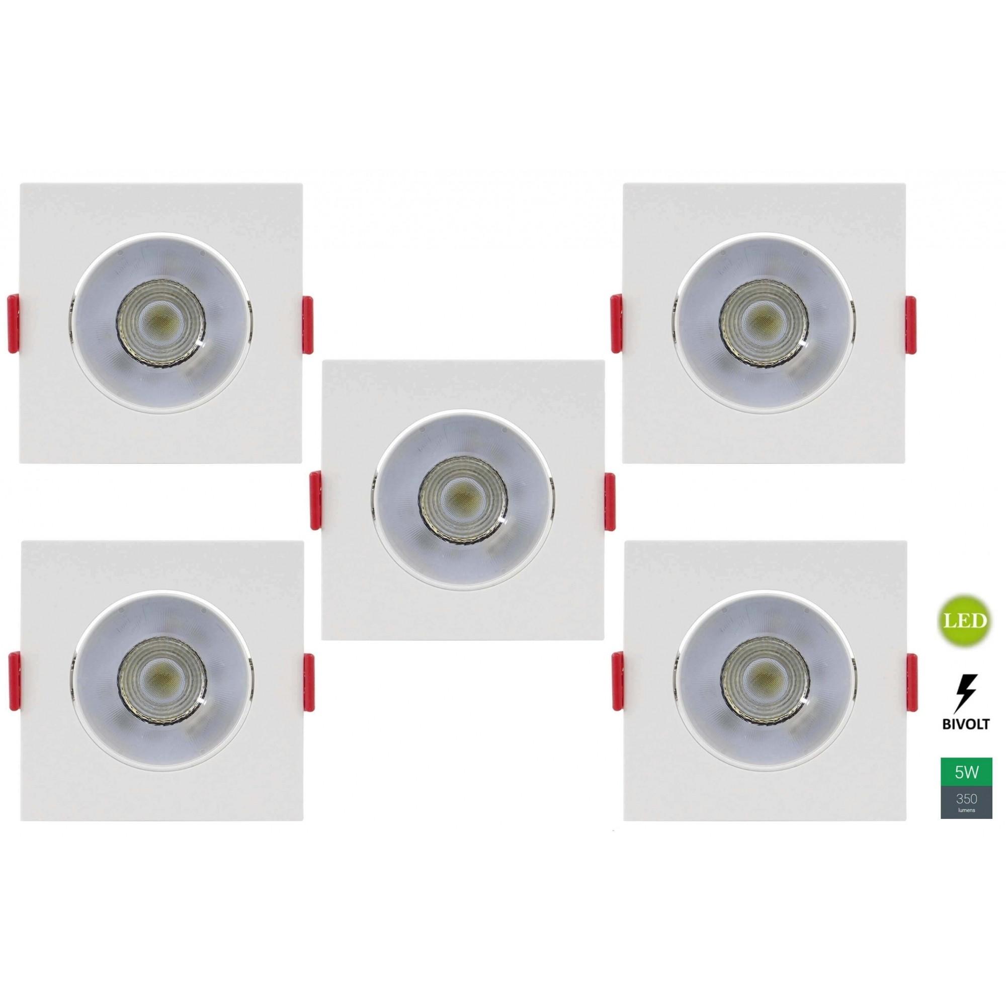 Kit 5 Spots Embutir 5w Quadrado Branco Quente