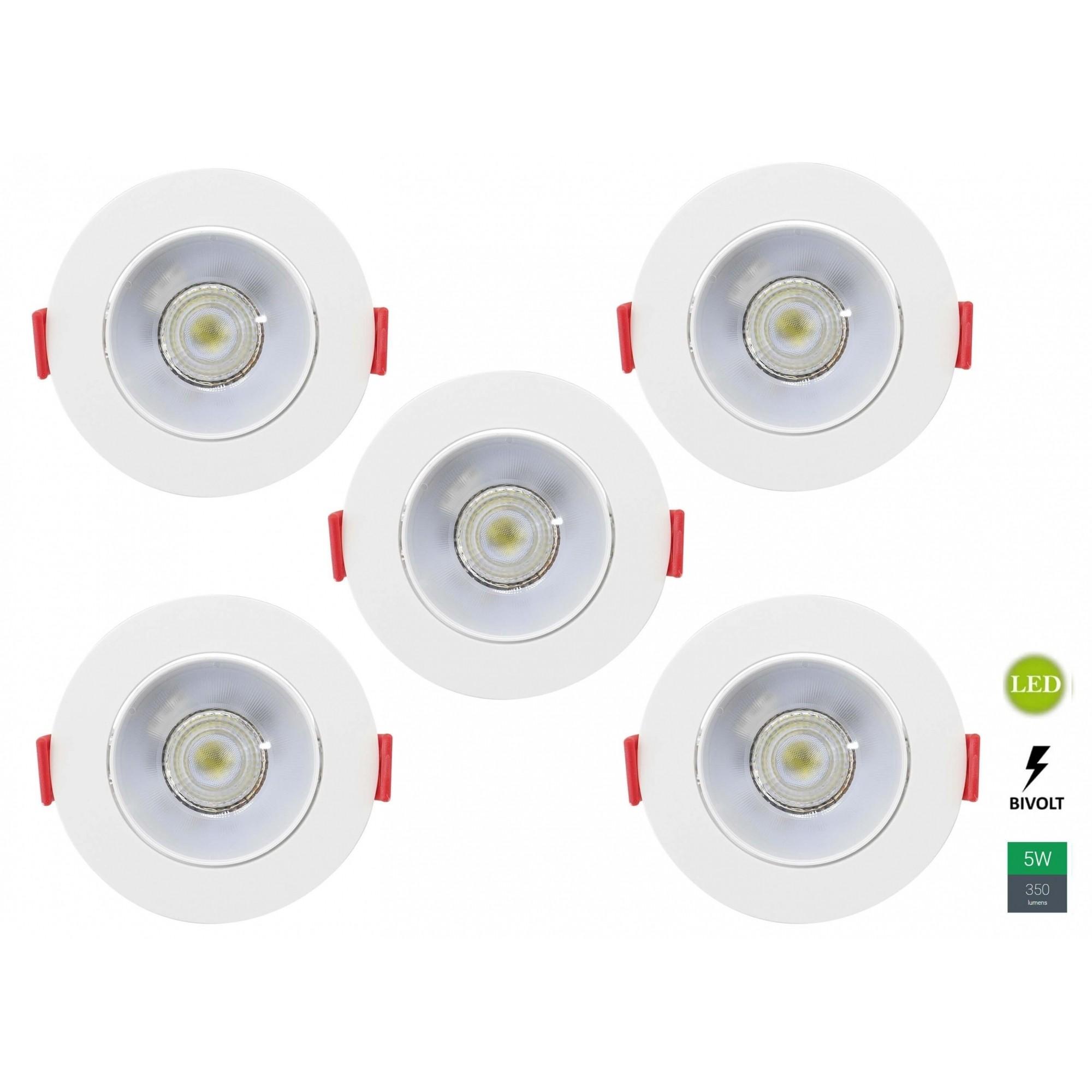 Kit 5 Spots Embutir 5w Redondo Branco Neutro