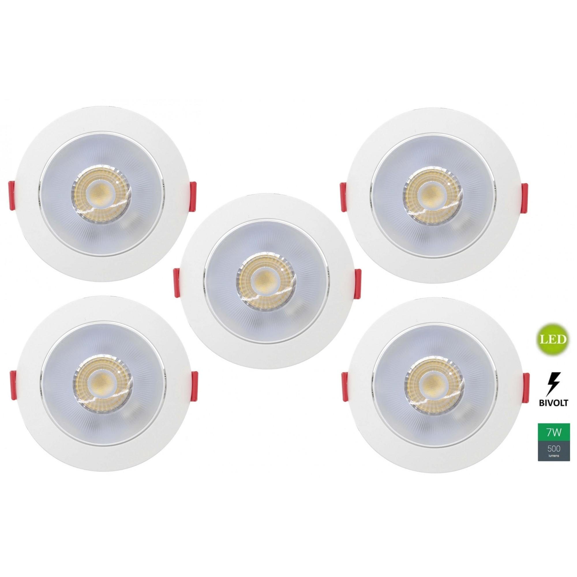 Kit 5 Spots Embutir 7w Redondo Branco Frio