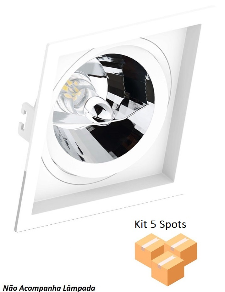 Kit 5 Spots Embutir AR70 Quadrado Branco Recuado SaveEnergy