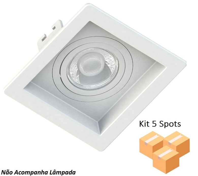 Kit 5 Spots Embutir Dicróica Quadrado Branco Recuado