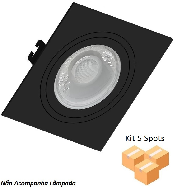 Kit 5 Spots Embutir Dicróica Quadrado Face Plana Preto - Save Energy