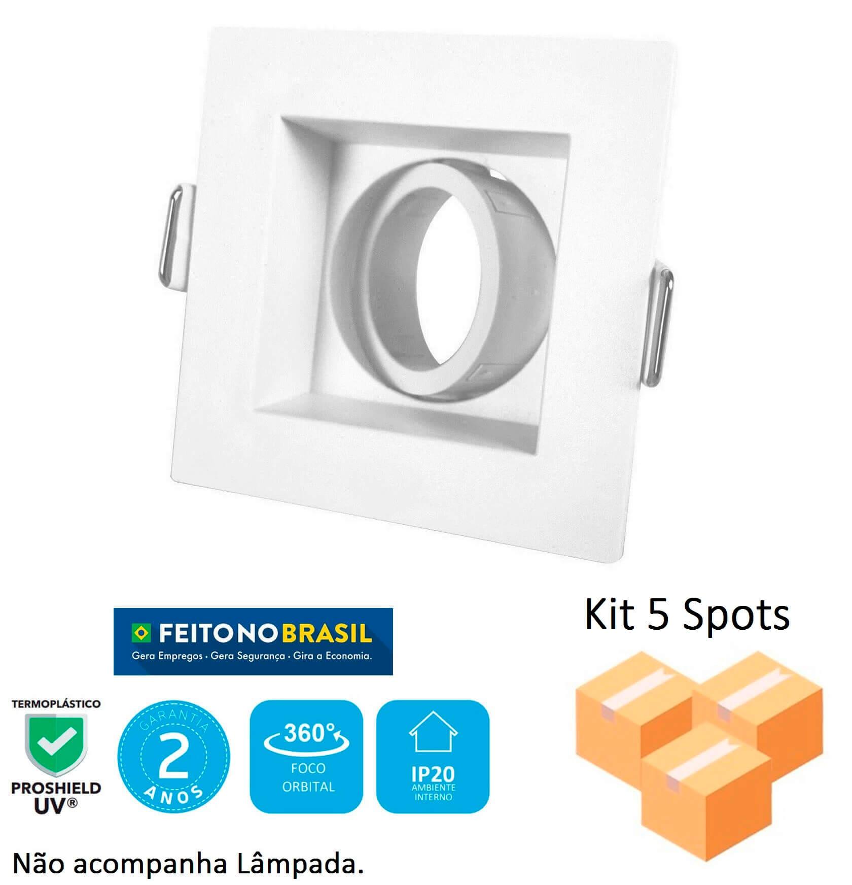 Kit 5 Spots Embutir Mini Dicróica Quadrado Branco Recuado
