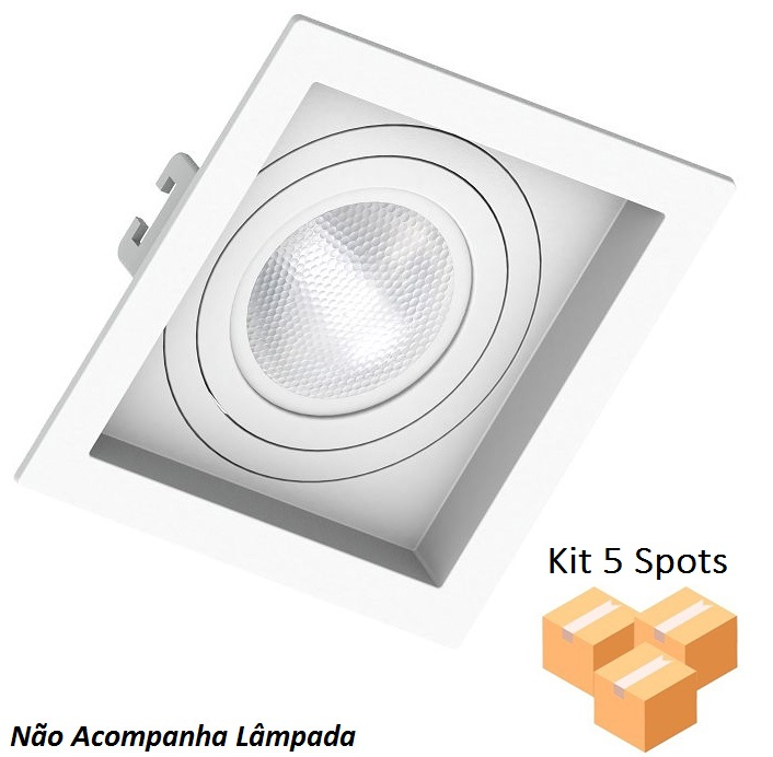Kit 5 Spots Embutir Par20 Quadrado Branco Recuado