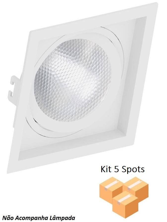 Kit 5 Spots Embutir Par30 Quadrado Branco Recuado
