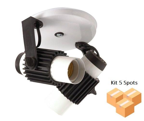 Kit 5 Spots Tubinho 2xE27 Branco C Preto