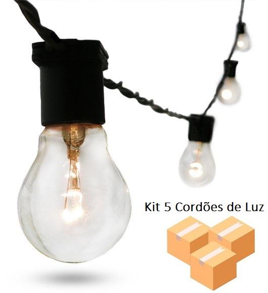 Kit 5 Varais de Luz Festao 20m Preto com 20 Soquetes E27 Starlux