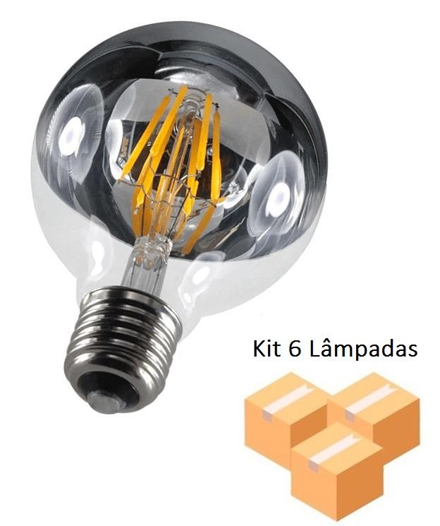 Kit 6 Lâmpadas de Filamento Led G95 Defletora 6w - GMH
