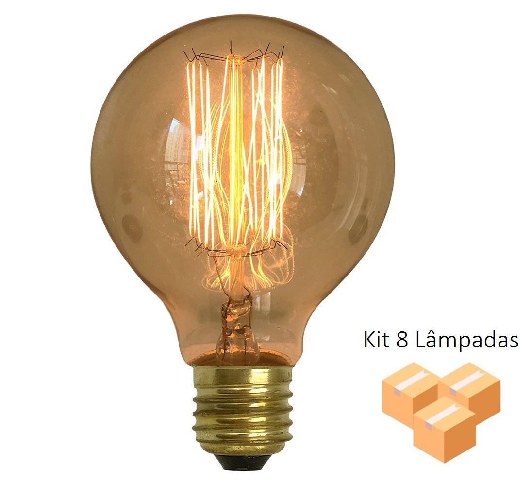 Kit 8 Lâmpadas Retrô Decorativa Vintage Thomas Edison G80