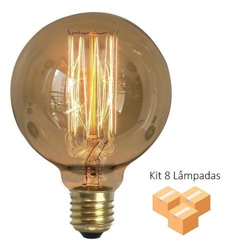 Kit 8 Lâmpadas Retrô Decorativa Vintage Thomas Edison G95