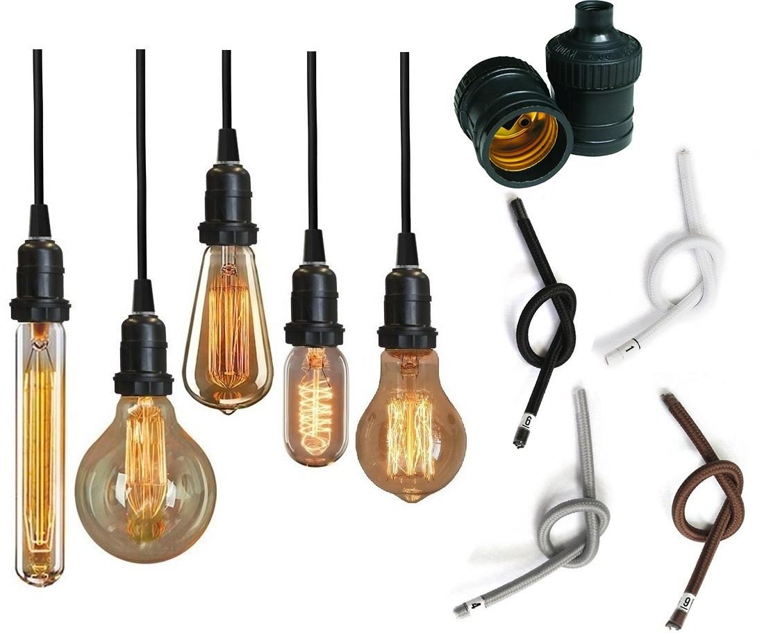 Kit Lâmpada Edison Retro + Fio + Soquete