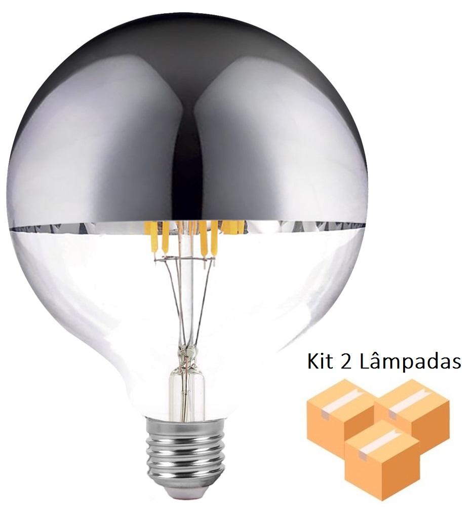 Kit 2 Lâmpadas de Filamento Led G125 Defletora 8w - GMH