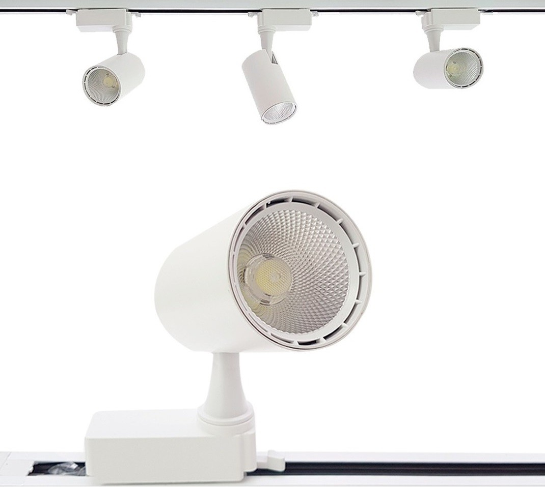Kit Trilho Eletrificado 1m + 3 Spots LED Branco 7W Branco Quente