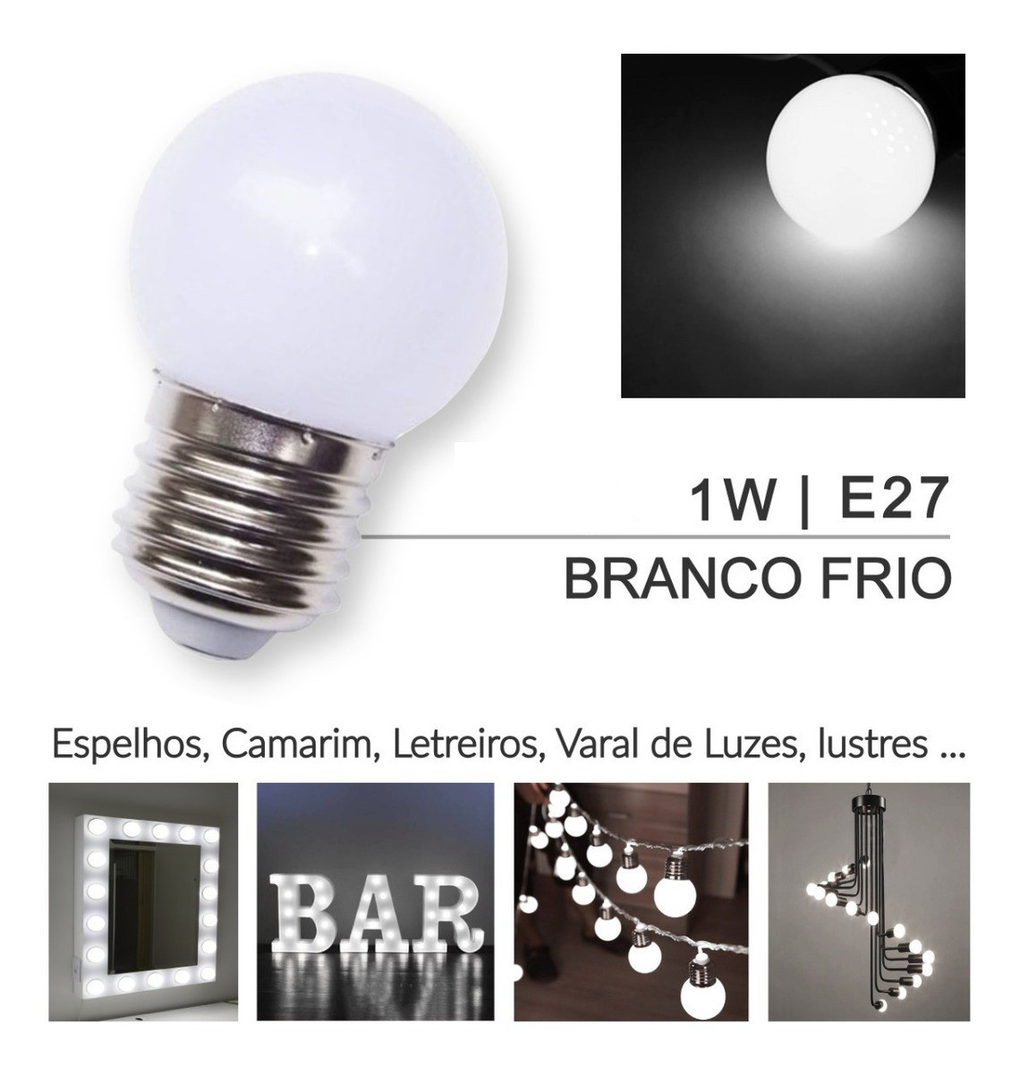 Lâmpada Bolinha Led 1w Branco Frio 127V
