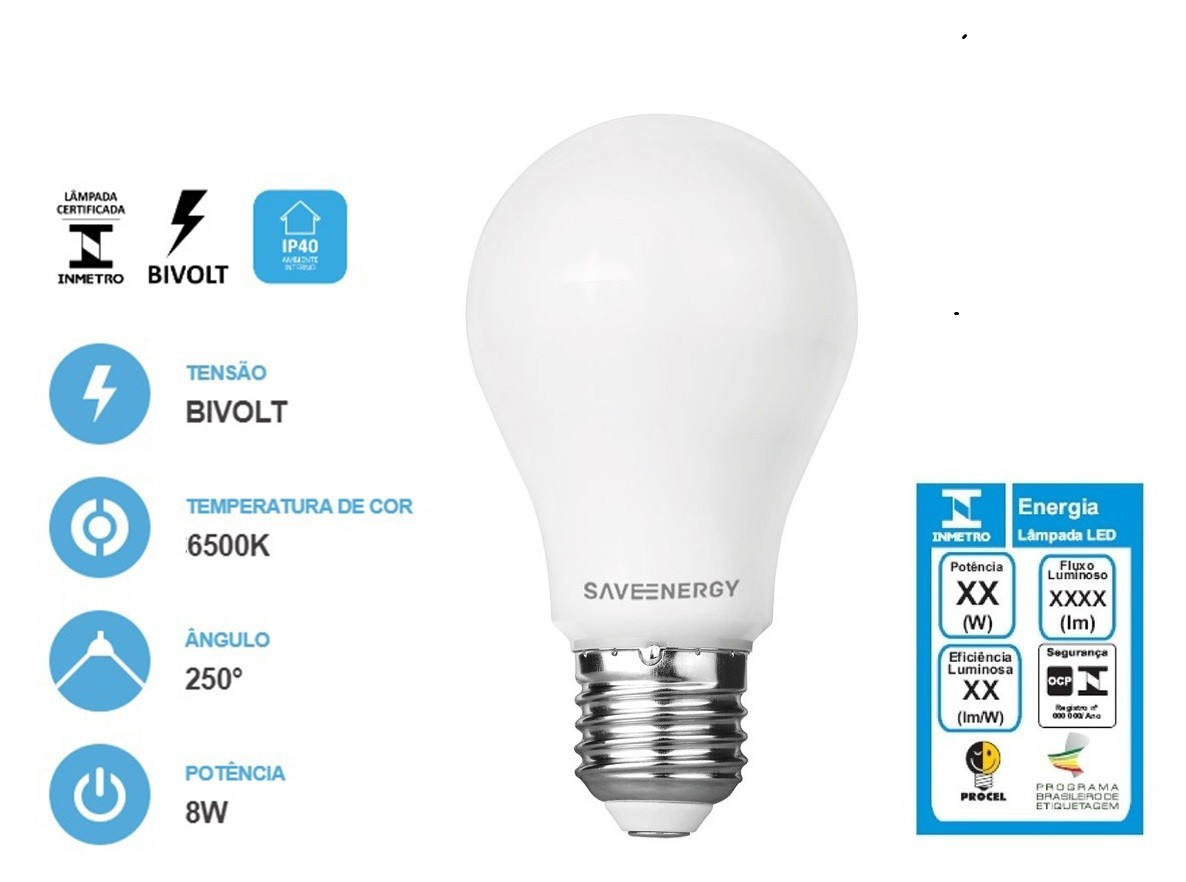Lâmpada Bulbo LED 8W 6500K A60 - SAVE ENERGY