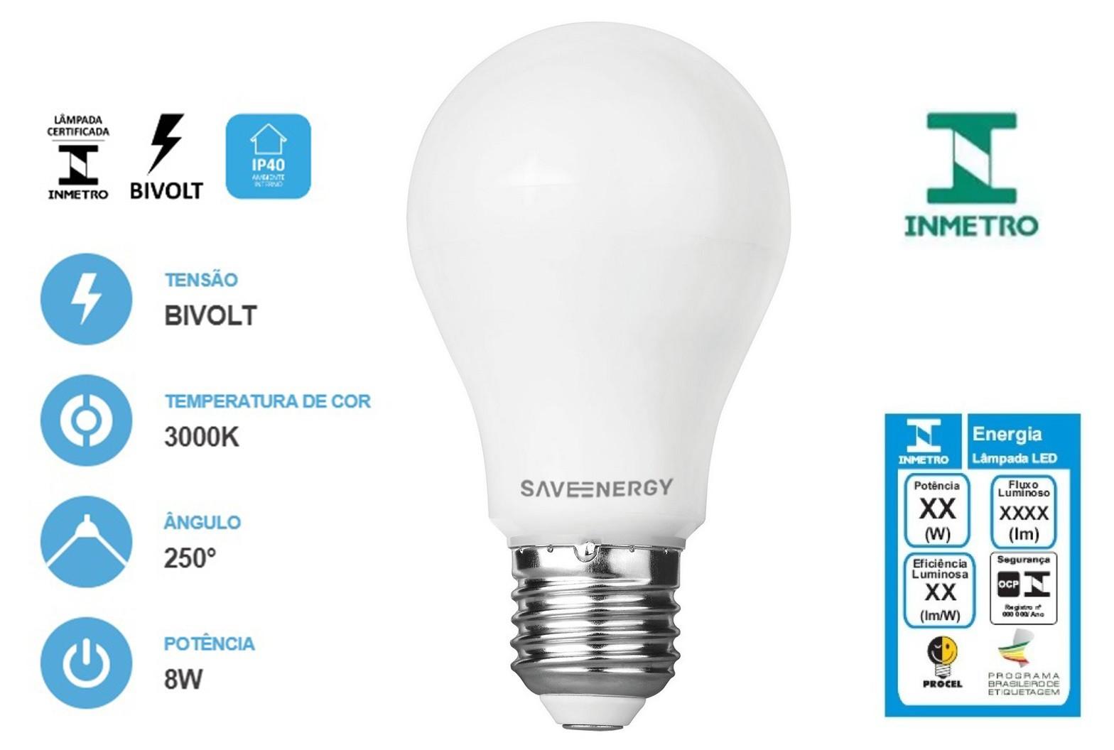 Lâmpada Bulbo Led A60 8w 3000k - SaveEnergy