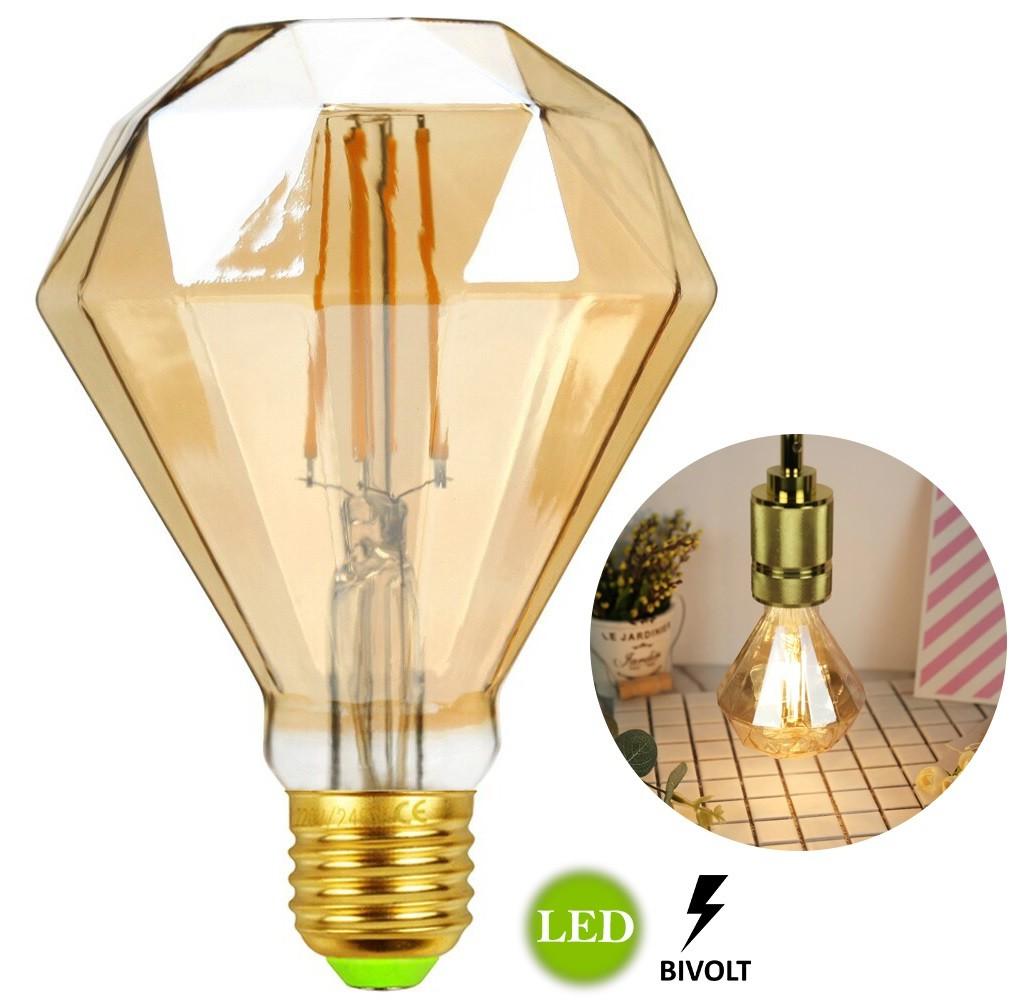 Lâmpada de Filamento Led D95 Diamante 4w Bivolt