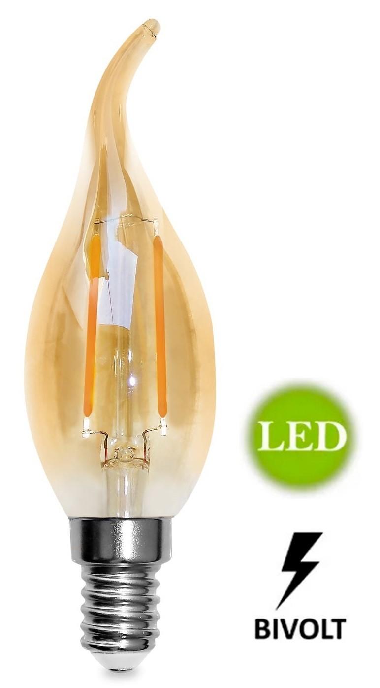 Lâmpada de Filamento Led Vela Chama 2w E27 bivolt - GMH