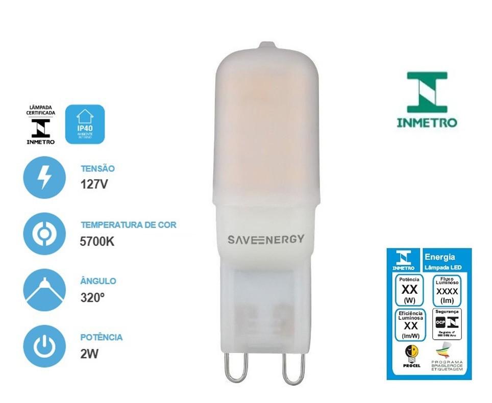 Lâmpada Led G9 2w 5700k 127V - Save Energy