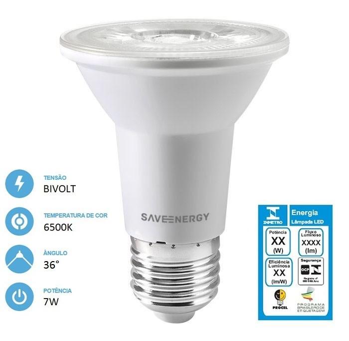 Lâmpada LED PAR20 7W 6500K E27 Crystal - Save Energy