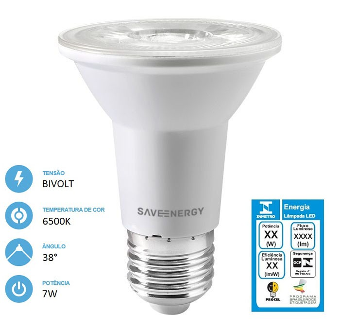 Lâmpada LED PAR20 Clear 7W 6500K Bivolt - Save Energy