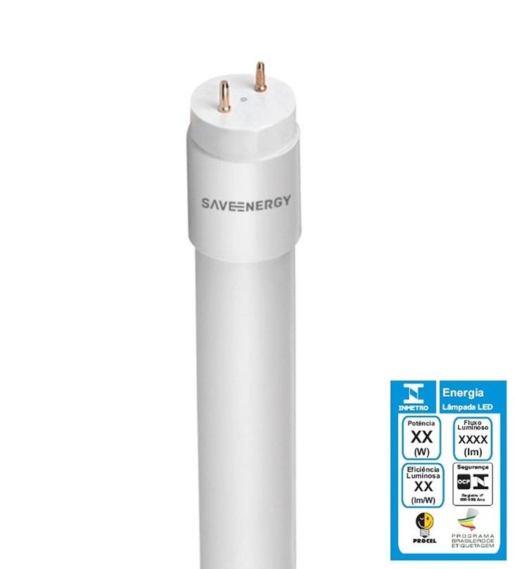 Lâmpada Tubular LED T8 10W 6500K - SAVEENERGY