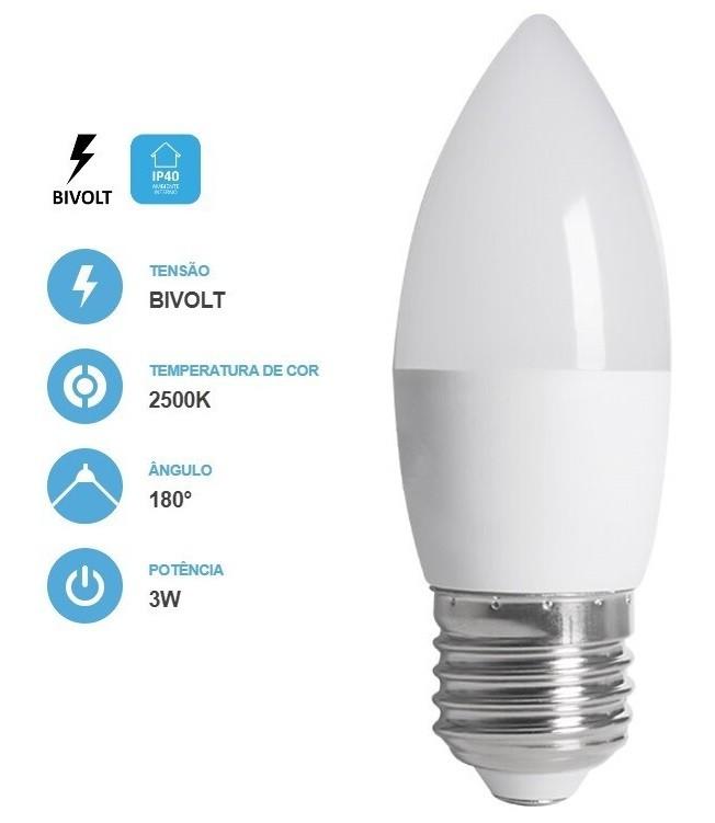 Lâmpada Vela Fosca 3W 250LM 2500K E27 Bivolt Save Energy