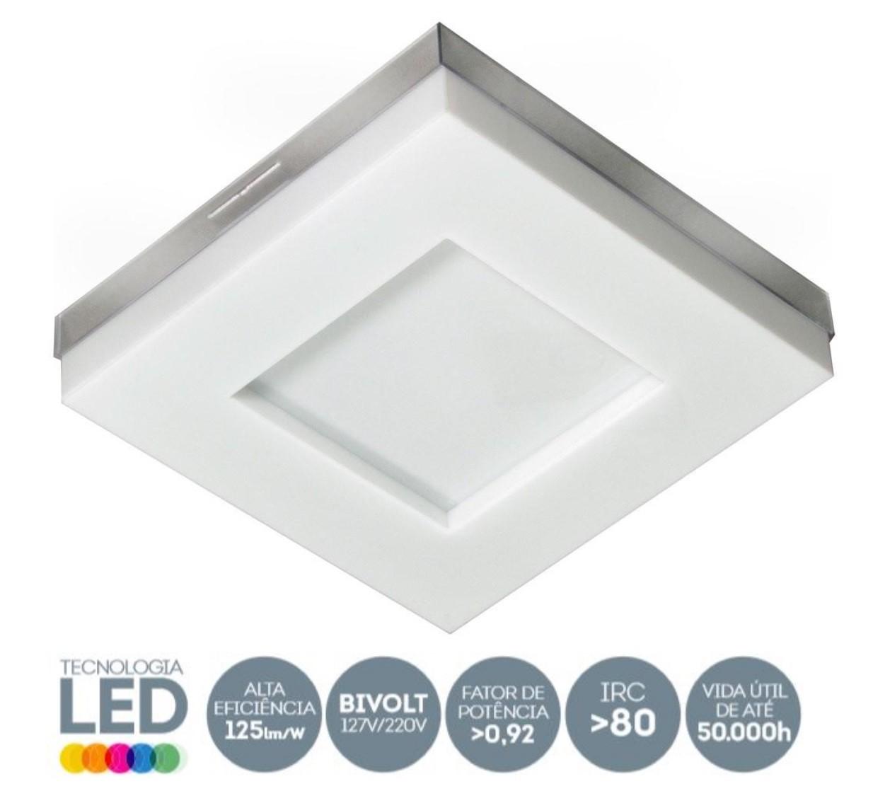 Luminária LED 9W sobrepor Branco Asturias 6500k Tualux